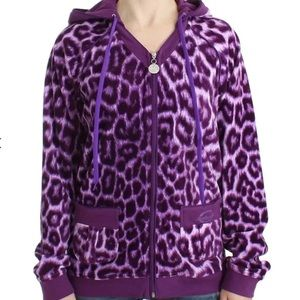Just Cavalli Purple Leopard Print Hoodie Jacket XL